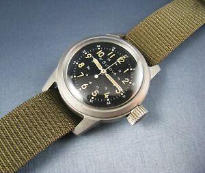 Vintage Bulova A-17 Hack US MIlitary Pilots Mens Watch Stainless 17J 1959