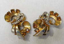 HI QUALITY VINTAGE MAZER AMBER CRYSTAL RHINESTONE BOW CLIP ON EARRINGS #178A