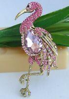 "3.94"" Pink Austrian Crystal Flamingo Animal Bird Brooch Pin Pendant 06620C5"