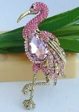 "3.94"" Pink Austrian Crystal Flamingo Animal Bird Brooch Pin Pendant 06620C5"