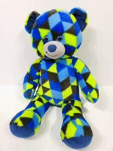 BAB Build a Bear Workshop GAMER Black Blue Green Triangles Bear Stuffed Animal