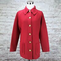 Hedy Knits Jacket Womens M Red Long Sleeve Button Down Polyester Mod Gogo 60s