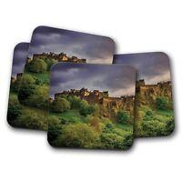 4 Set - Edinburgh Castle Coaster - Scotland UK Scottish Travel Cool Gift #8906