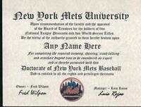METS FAN~NEW YORK METS~CERTIFICATE ~DIPLOMA~ GIFT~ MAN CAVE ~ OFFICE ~ FAN