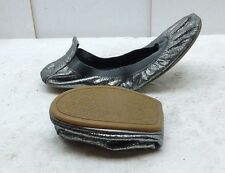 Yosi Samra Women Leather Silver Folding Ballet Flat Casual Dress Comfort Shoe 9M