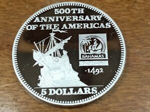 1991 Bahamas Large Proof Silver $5 Columbus on ship sighting America-500 years
