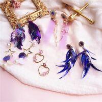 Korean Women Crystal Tassel Heart Pearl Ear Stud Dangle Drop Earrings Jewelry
