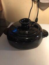 Frankoma - Black - 4V - 2 Quart Round Covered Casserole / Bean Pot DF0028
