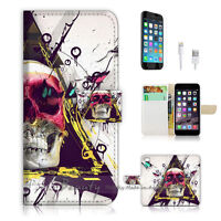 ( For iPhone 7 Plus ) Wallet Case Cover P1506 Skull