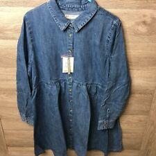 Asos Denim Maternity Womens Size 14 Midwash Blue Button Front Jean Smock Shirt