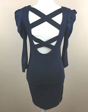 Womens Vila Major Navy Blue Cros Mini Dress Bandage Bodycon Open Back Size Small