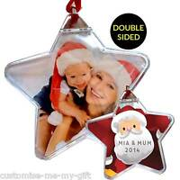 PERSONALISED PHOTO SANTA CHRISTMAS BAUBLE STAR /ROUND ADD TEXT TREE DECORATION