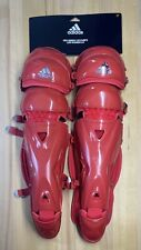 "Adidas Pro Series S98306 17"" Baseball Catchers Leg Guards 2.0 Triple Knee Red"