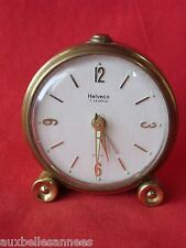 ANCIEN RÉVEIL MÉCANIQUE HELVECO SWISS MADE 7 JEWELS / HORLOGE PENDULE OLD CLOCK