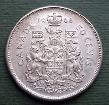 1966 Canada Coin 50 Cents Elizabeth II Silver (.8000) KM# 63