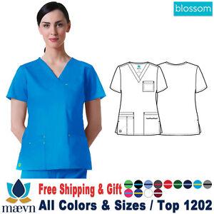 Maevn Scrubs BLOSSOM Women's Medical 3-Pocket Inner Utility V-Neck Top 1202