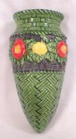 Wall Pocket Vase Green Wicker Orange Yellow Flowers Vintage #10
