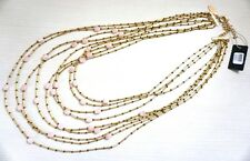 NWT $129 Chico's Black Label Pink Ginger Multi-Strand Necklace, Gold/Pink/Bronze