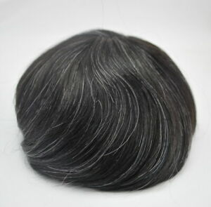 Grey Hair Toupee For Men Black Grey Mens Human Hair System Hairpiece Unit Stock