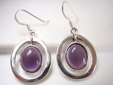 Purple Amethyst in Hoop Earrings 925 Sterling Silver Corona Sun Jewelry