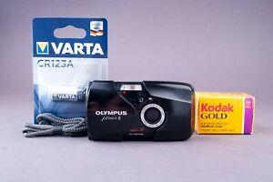 Olympus Mju II Stylus Epic DLX 35mm Black Point & Shoot Film Camera Tested