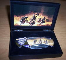 DECORATIVE FOLDING POCKET KNIFE IN GIFT BOX (HORSES AND RIDERS)