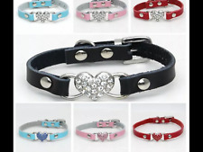Dog collar heart pet animal cat red pink black blue faux leather collars lead