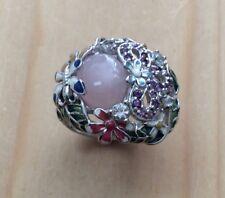 Gorgeous Gemstone Rose Quartz Amethyst & White Topaz Sterling Silver Ring #9