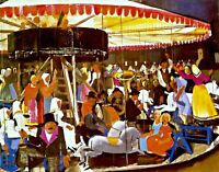 Carousel by Hungarian Painter Vilmos Aba-Novák. Fun Art Print Canvas or Paper