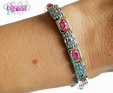 LADIES SUPER STRONG BIO MAGNETIC SILVER & GOLD ALLOY HEALING BRACELET PINK STONE