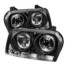 Chrysler 09-10 300 Black Dual Halo LED Projector Headlights Limited/Touring