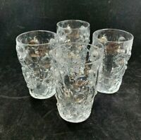 Vintage Bryce El Rancho Hand blown glass MCM texture clear glass lot 4 tumblers