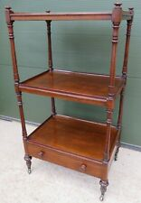 Antique Victorian Walnut Three-Tier What-Not Stand with Drawer
