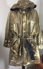 Kenn Sporn / Wippette Vintage Shiny Gold 100% Vinyl Hooded Raincoat Jacket Sz L