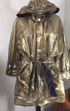 Kenn Sporn / Wippette Vintage Shiny Gold 100% Vinyl Hooded Raincoat Jacket Sz L