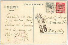 España - HISTORIA POSTAL: FRANQUEO MISTO sobre POSTAL a BELGIUM Belgica 1936