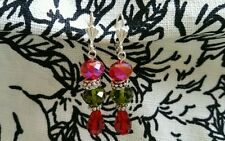 Red Green Tibetan Silver Handmade Glass Beads Dangle Earrings