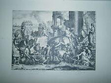 Planche gravure Les batailles d'Alexandre l'entrée dans Babylone