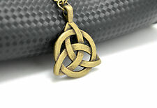 Vintage Celtic Necklace Pendant Triquetra Trinity  Knot in Bronze With Band