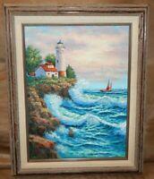 Original Oil Painting Impasto Seascape Lighthouse Sailboat Ocean Nautical Signed