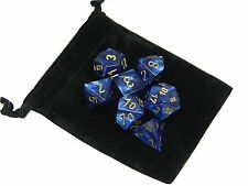New Chessex Polyhedral Dice with Bag Royal Blue Scarab 7 Piece Set DnD RPG