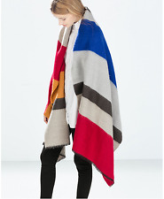 ZARA New 2017 Winter  Design Scarf Spain Fhicker Stripes oversized Woman Shawl