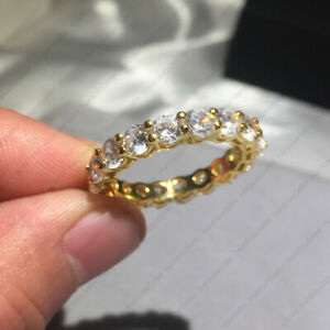 4.50 TCW Round Brilliant DEF Moissanite Eternity band in Solid 14K Yellow Gold