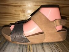 Fitflop Women's Size 9 Style # 394-017 Sandal Brown Tan Suede & Cork Type Straps