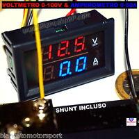 2in1 VOLTMETRO 0-100V e AMPEROMETRO 0-50A con SHUNT auto camper solare eolico