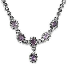 HOLIDAY GIFT ITEM! AUTHENTIC LAVENDER & MARCASITE NECKLACE SOLID STERLING SILVER