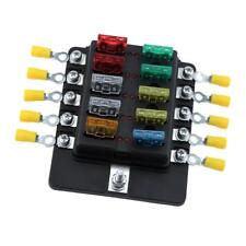 Universal 10 Way Blade Fuse Holder Box With Spade Fuses LED Indicator