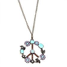 lange Halskette Peace Peacezeichen Kette Anhänger Steine Bunt Goldfarben 108