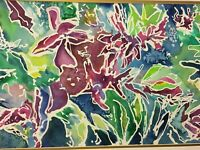 """ORIGINAL ABSTRACT MULTI-COLOR FLORAL WATERCOLOR BY """"A. POLLAK"""" MATTED NO FRAME"""