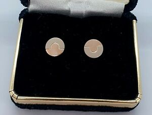 18CT 770 Gold Studs Post Earrings Rose and White Gold Discs